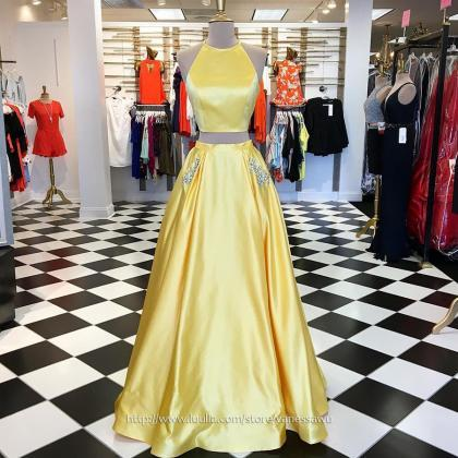 Unique Daffodil Two Piece Long Prom..