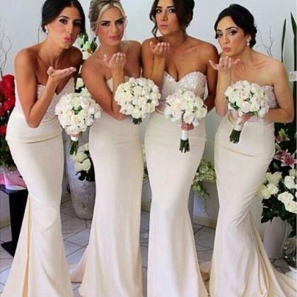Ivory Bridesmaid Dresses with Glitt..