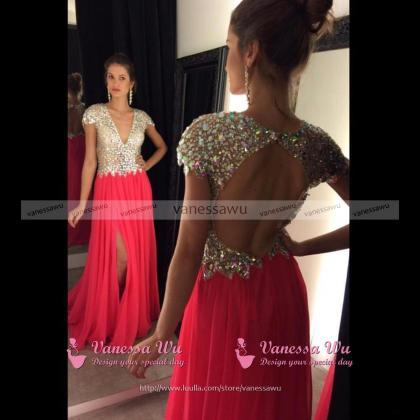 Open Back V-neck Prom Dresses with ..