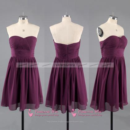 Short Bridesmaid Dress with Soft Pl..