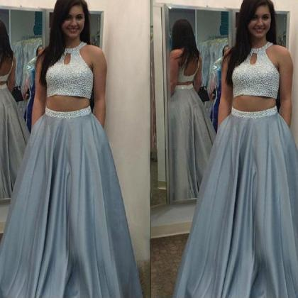Halter Two Piece Prom Dress with Be..