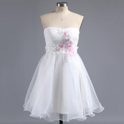 White Sweetheart Homecoming Dress w..