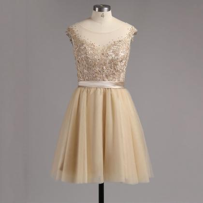 Champagne Low Back Homecoming Dress..