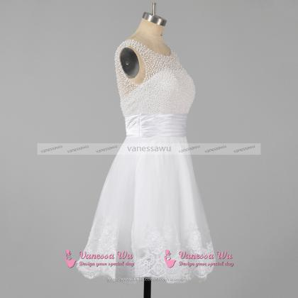 Pearl Beaded White Homecoming Dress..