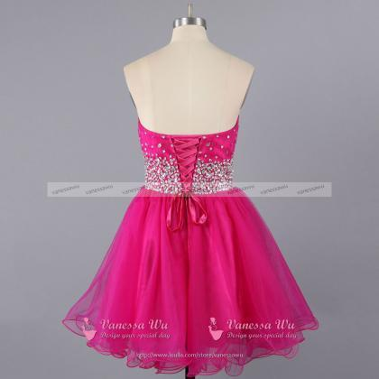 Hot Pink Sweetheart Homecoming Dres..