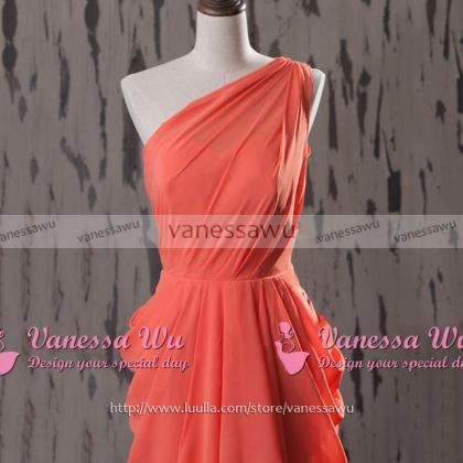 Short Watermelon Bridesmaid Dresses..