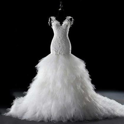 Luxury Wedding Dresses with Feather..