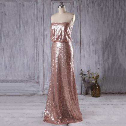 Sparkly Rose Golden Bridesmaid Gown..