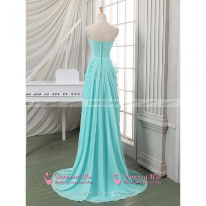 Crystal Sweetheart Ruched Long Prom..