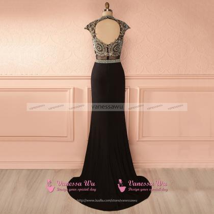 Jewel Neck Cap Sleeves Long Prom Dr..