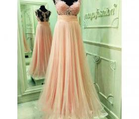 Pink Cap Sleeve Prom..