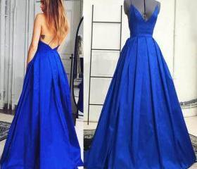 Royal Blue Plunge V-..
