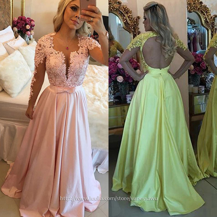 c422e190e05 Long Prom Dresses,A-line Scoop Neck Formal Dresses,Sweep Train Silk ...