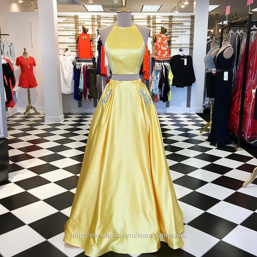 Unique Daffodil Two Piece Long Prom Dresses,Princess Scoop Neck Formal Dresses,Satin Evening Dresses with Beading,#020105278