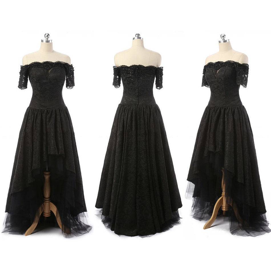 Off-the-shoulder High Low Prom Dresses, Asymmetrical Gothic Black Wedding Dresses, Short Sleeve Lace Prom Dress, #020102226