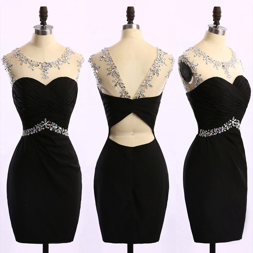 Black Short Bodycon Evening Dress Featuring Ruched Sweetheart Illusion Bodice with Crystal Embellishments