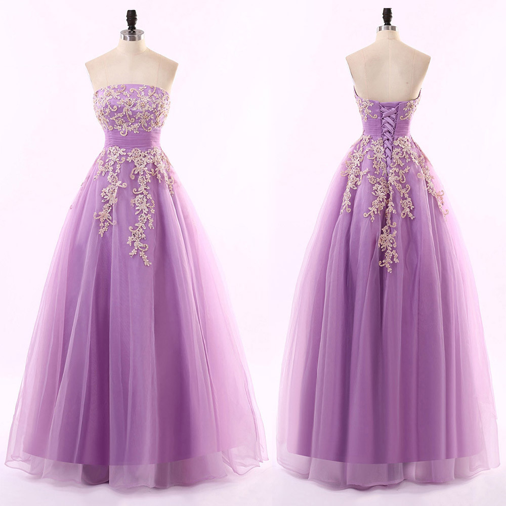 Lavender Long Tulle A-Line Prom Dress Featuring Lace Appliqués and Straight Across Bodice with Lace-Up Back