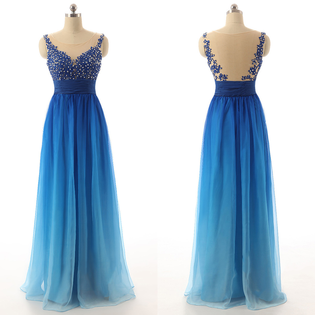 Blue Gradient Long Chiffon A-Line Prom Dress Featuring Lace ...