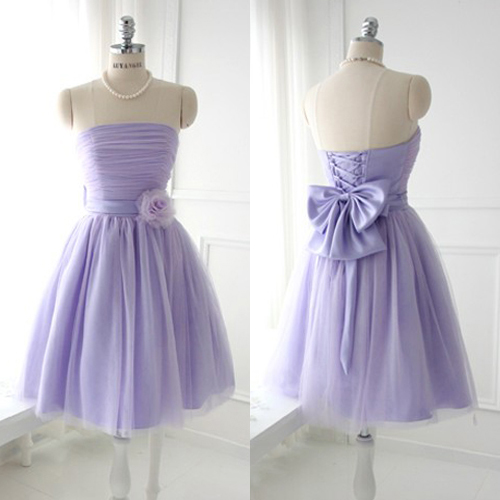 Lavender Bridesmaid Dress with a Bow, Graceful Strapless Bridesmaid Dress with a Handmade Flower, Short Satin Bridesmaid Gowns, #01012888