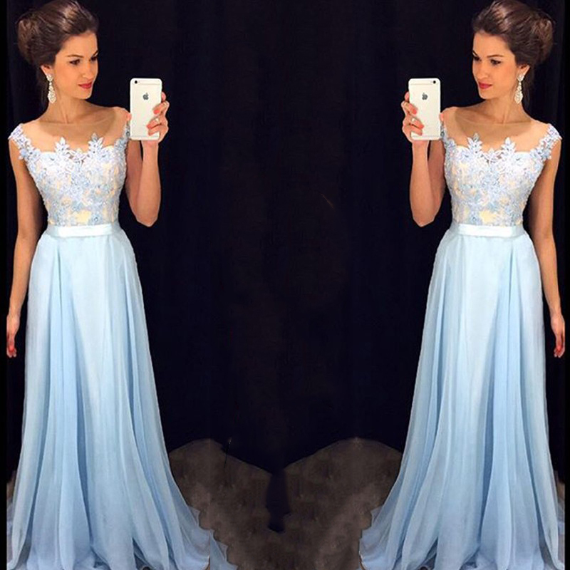 796bdc5aa8 Light Blue Prom Dress With Floral Lace Applique
