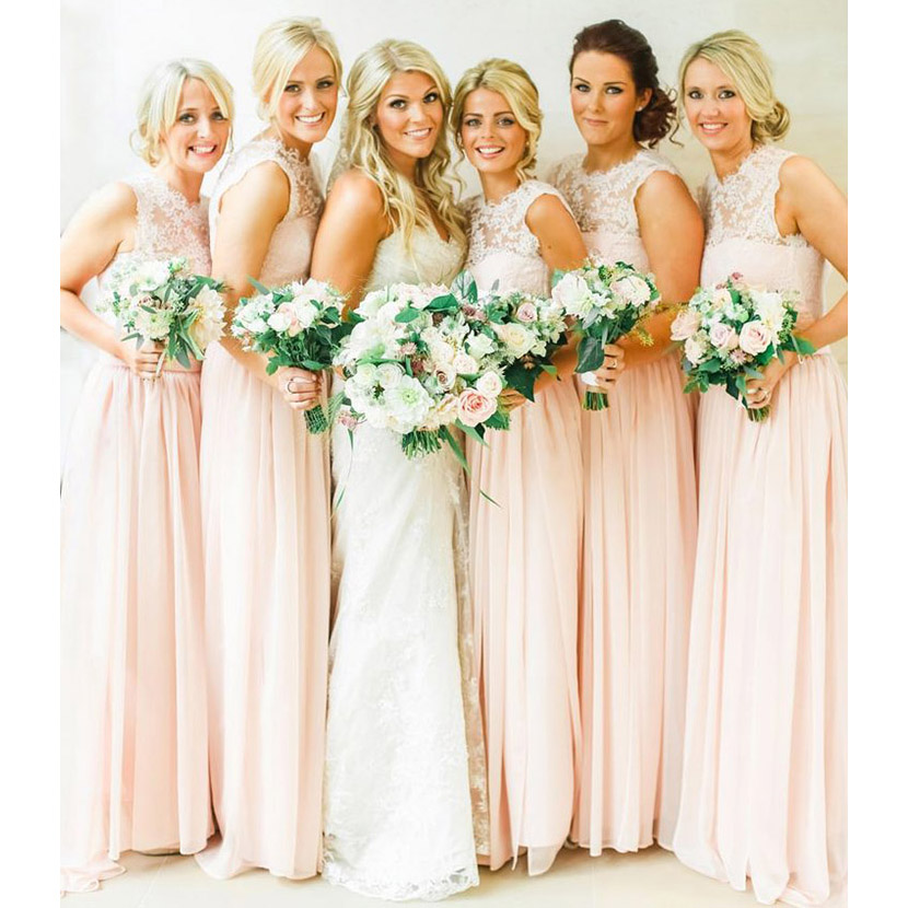 Pearl Pink Chiffon Bridesmaid Dresses With Soft Pleats Pastel Lace Dress Sweep Train Elegant Scoop Neck 01012467