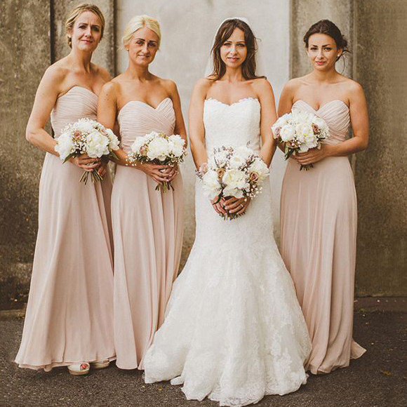 Blush Bridesmaid Dresses With Ruching Detail Sweetheart Chiffon Dress Pleats Flowing Empire