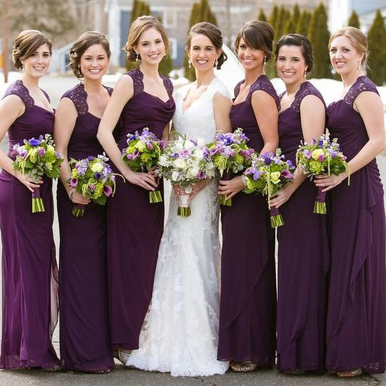 Purple Bridesmaid Dress With Beautiful Cowl Neck Column Chiffon Dresses Simple