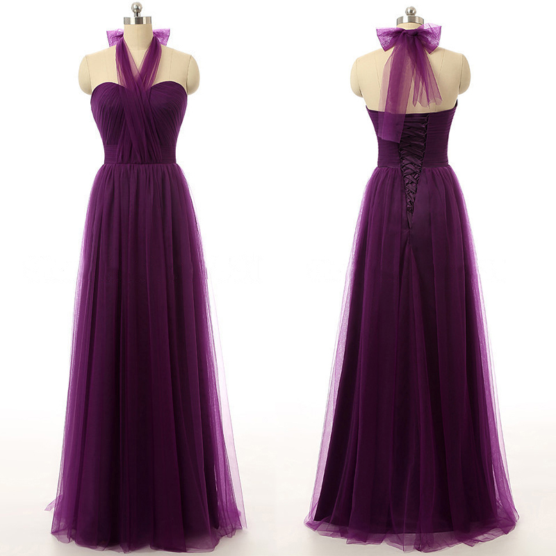 Dark Purple Bridesmaid Dresses With Soft Pleats Beautiful Halter Long Tulle 01012737