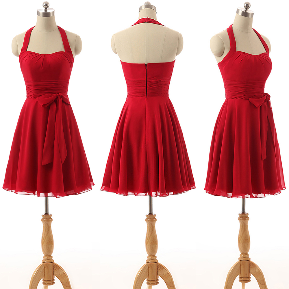 Red Halter Casual Dress