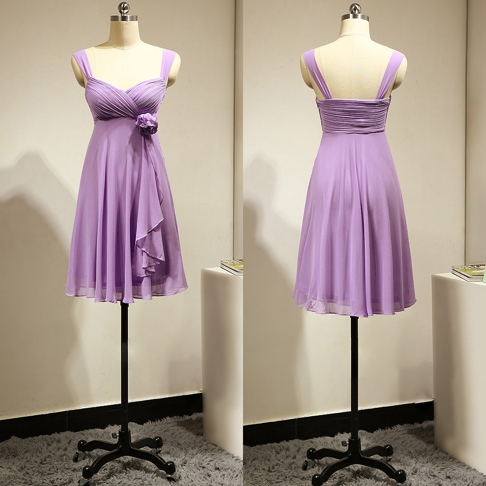 Empire Lavender Bridesmaid Dress with a Hand-made Flower, Short Chiffon Bridesmaid Dress, Fashion Bridesmaid Gowns, #01012883