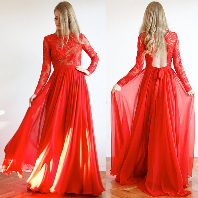 Long Sleeve Red Prom Dresses Trendy Open Back Scoop Neck Lace 020102082