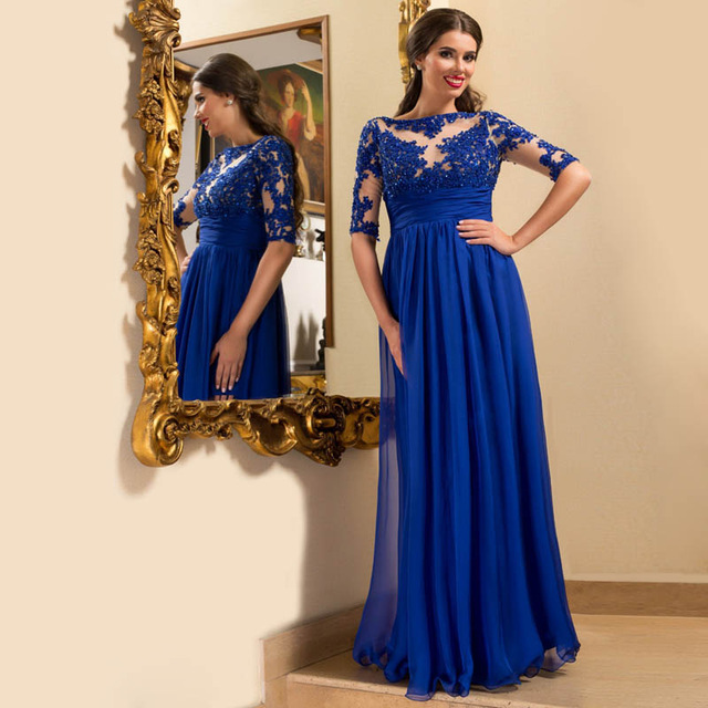 fe98ec54f6b Royal Blue Long Sleeve Prom Dress