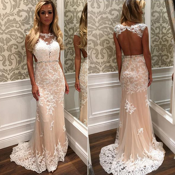 fb6c3bb9e4cc9 Cap Sleeve Prom Dress with Beaded Belt, White Open Back Wedding Dress, Long  Lace