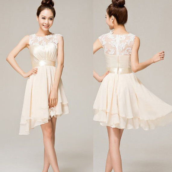 Asymmetrical Short Prom Dresses With Ribbon Illusion Lace White Dress High Low Hem