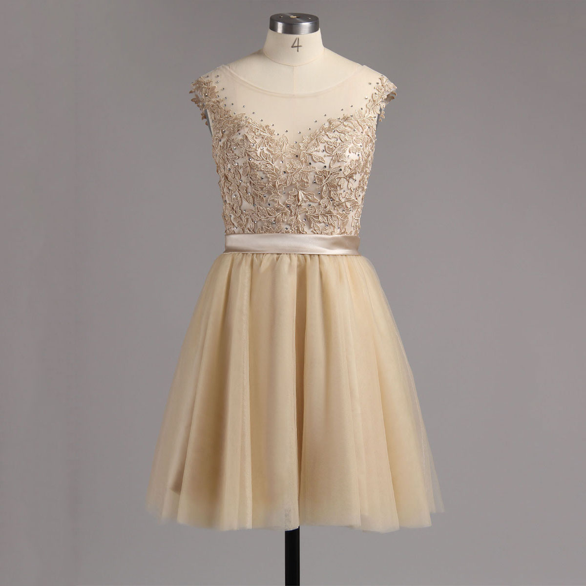 Champagne Low Back Homecoming Dress, Tulle Short Homecoming Dress with Lace Appliques, Princess Homecoming Dress with Cap Sleeves, #02016005