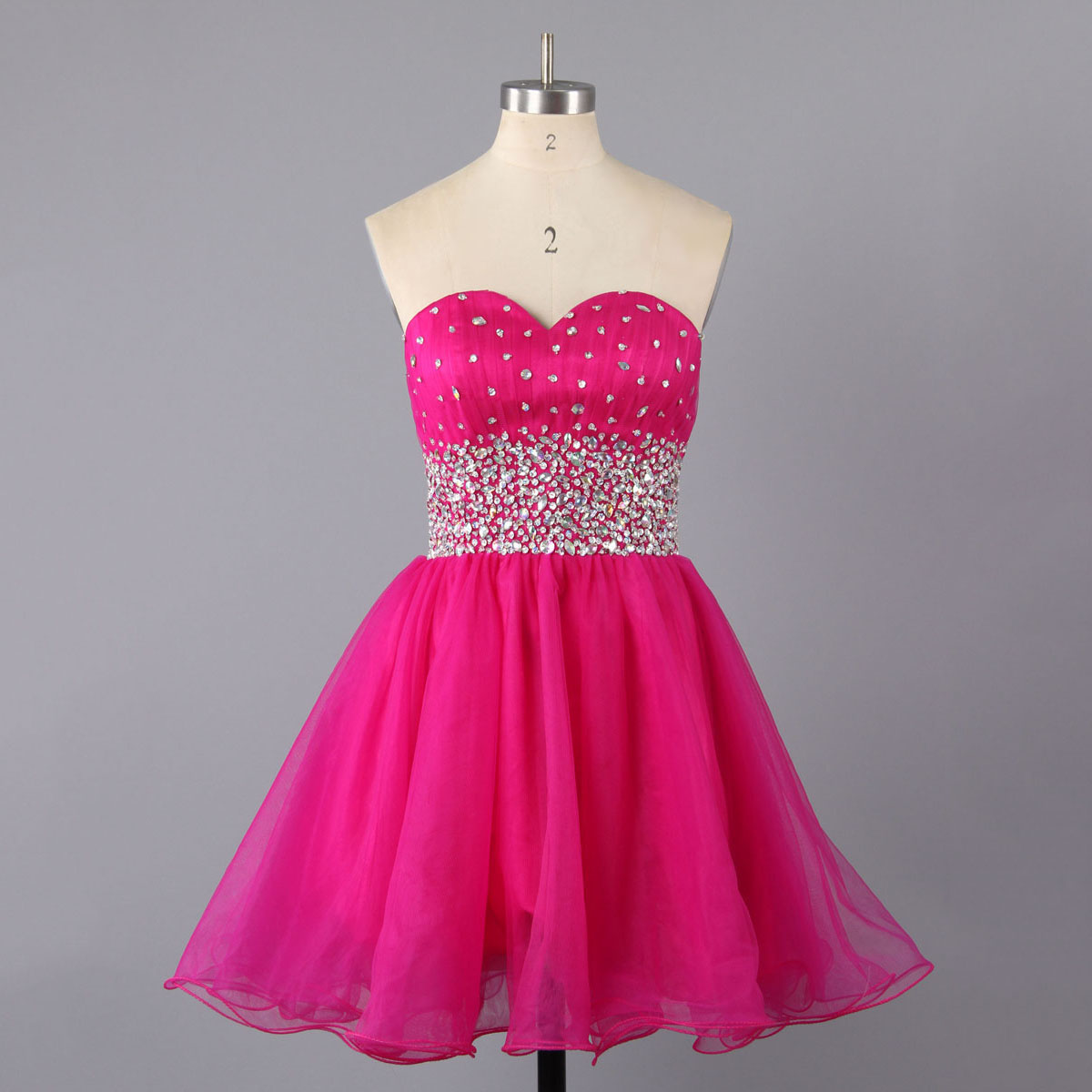 Hot Pink Sweetheart Homecoming Dresses, Begonia A-line Tulle Homecoming Dresses, Short Homecoming Dresses with Crystal Beaded Details, #02111410