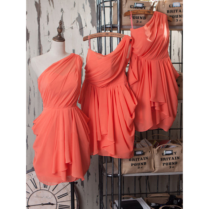 Short Watermelon Bridesmaid Dresses, Asymmetric Column Chiffon Bridesmaid Dresses, Modern, One-Shoulder Bridesmaid Dresses with Pleats, #01012540
