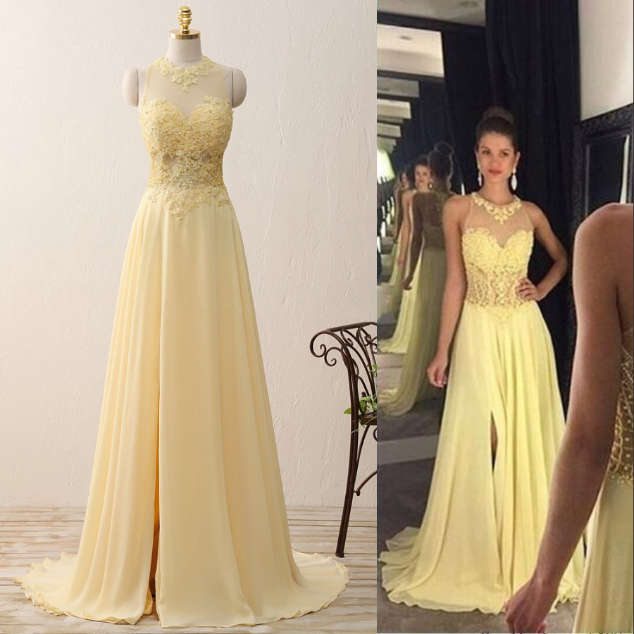 fe7eaaa20ba83 Jewel neck floor length prom dress with sweep train light yellow illusion  prom dress jpg 900x900