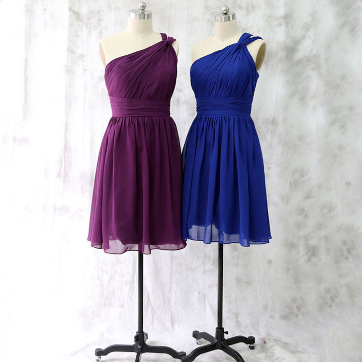 Purple One Shoulder Bridesmaid Dress Latest Short Royal Blue Asymmetric Chiffon With Ruching Detail 01012528