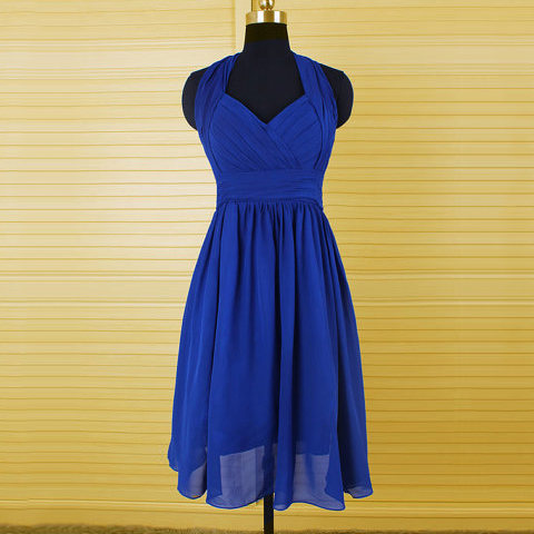 Royal Blue Knee Length Bridesmaids Dress