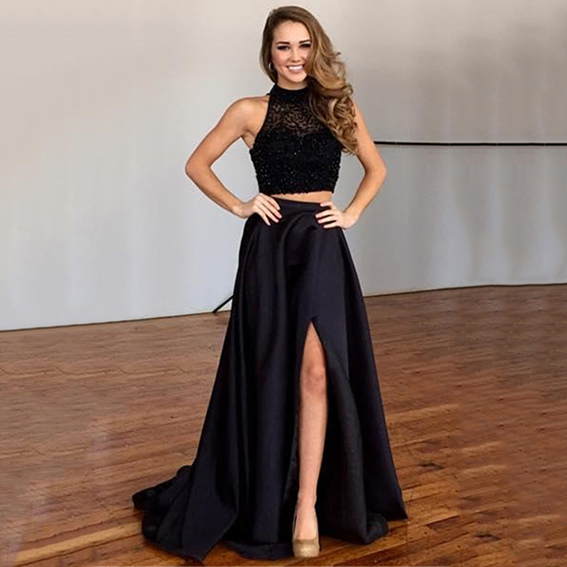 ace5a23efcc High Neck Beaded Illusion Tulle Two Piece Long Prom Dress