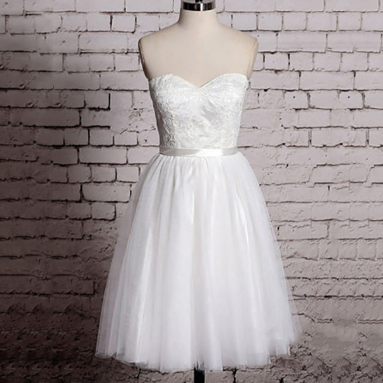 Pretty Sweetheart White Short Wedding Dress Sweet Sleeveless A Line Knee Length Bridal Gown Elegan On Luulla