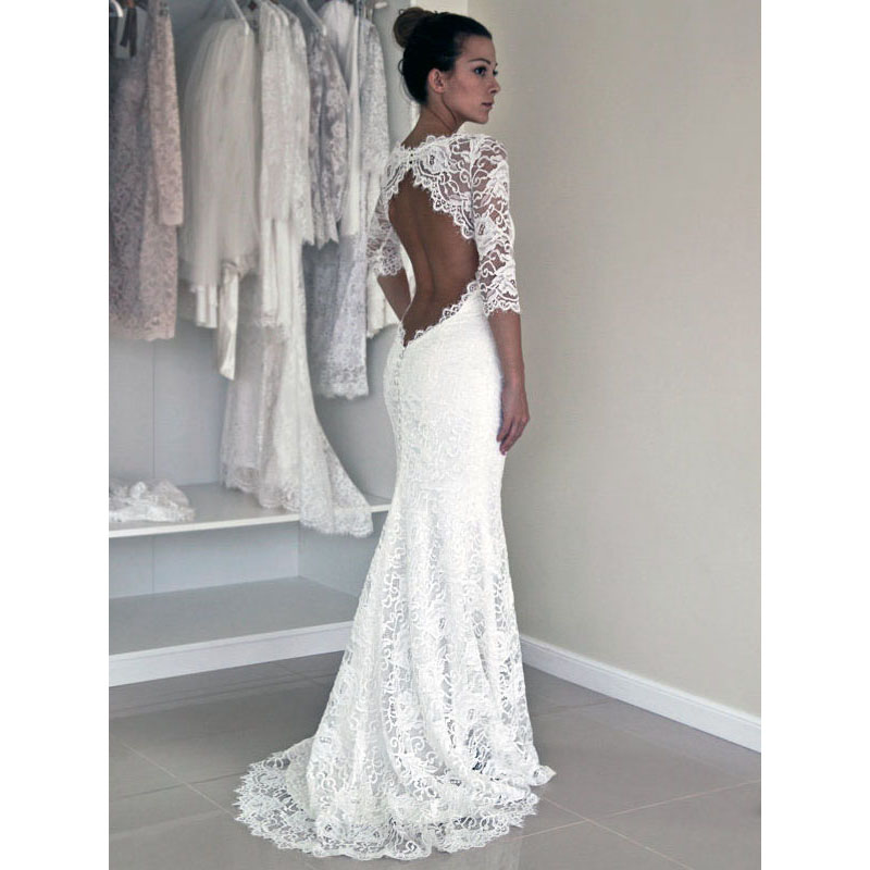 Scoop Neck Illusion White Lace Long Wedding Dress fb290809f92a
