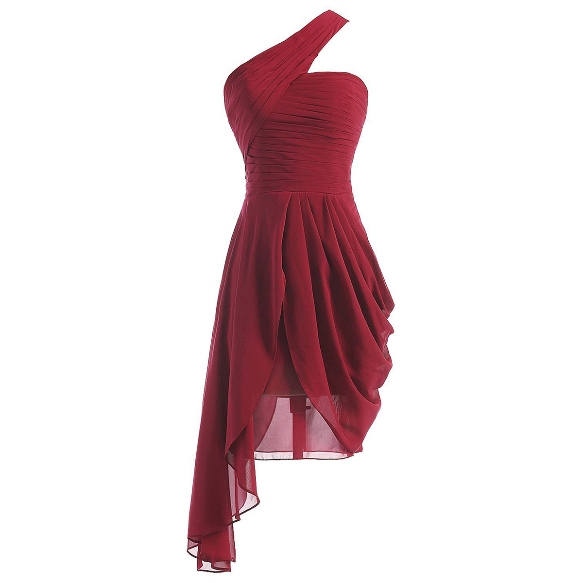 Burgundy Short Bridesmaid Dresses With Ruffles A Line One Shoulder New Gowns Asymmetrical Chiffon 01012950