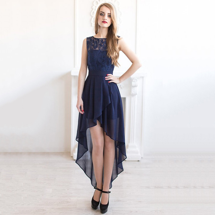 Bateau Neck Illusion Navy Blue Bridesmaid Dress Asymmetric High Low Lace Chic Sash Chiffon 01012927