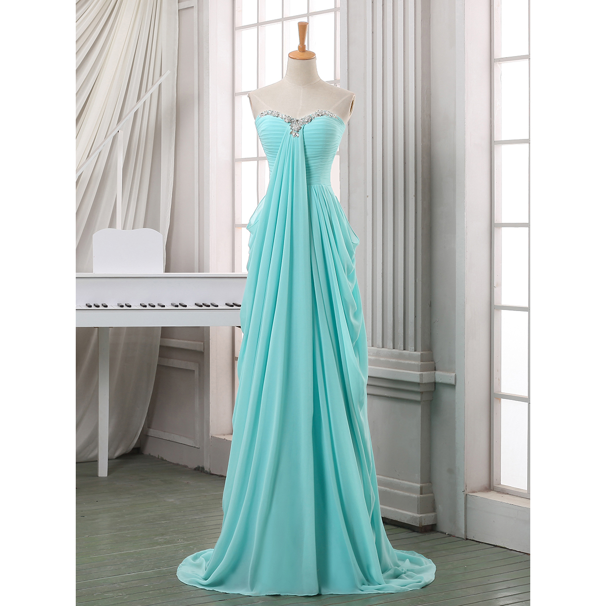 Crystal Sweetheart Ruched Long Prom Dress, A-line Chiffon Floor Length Prom Dress, Ice Blue Pleats Sweep Train Prom Dress, #020102699