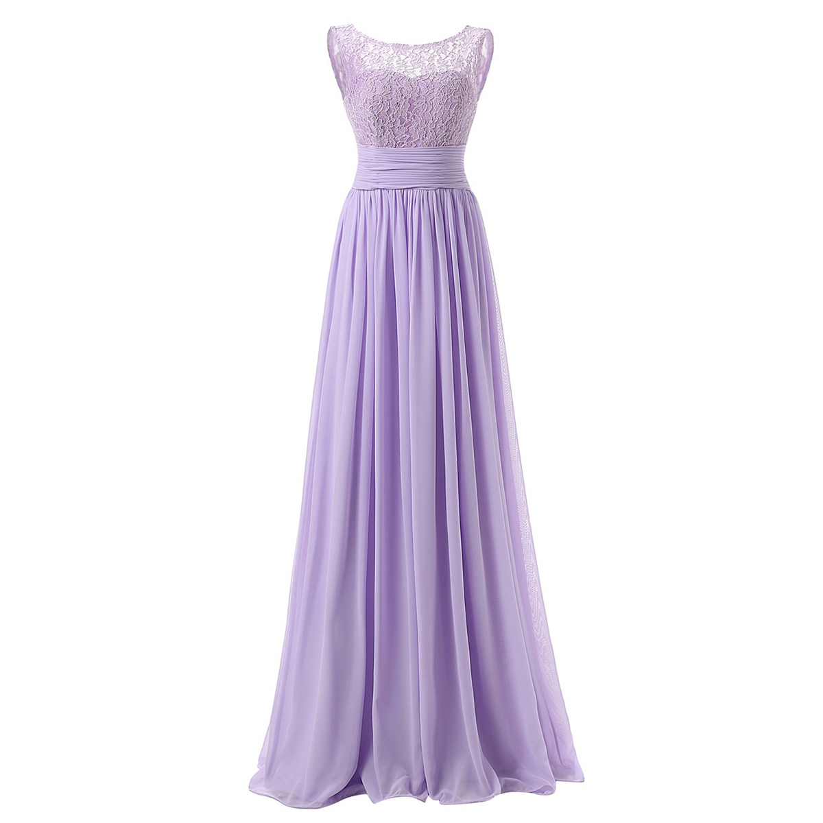 Lavender Floor Length Chiffon A-Line Ruffle Bridesmaid Dress Featuring Lace Sleeveless Bateau Neckline and Ruched Belt