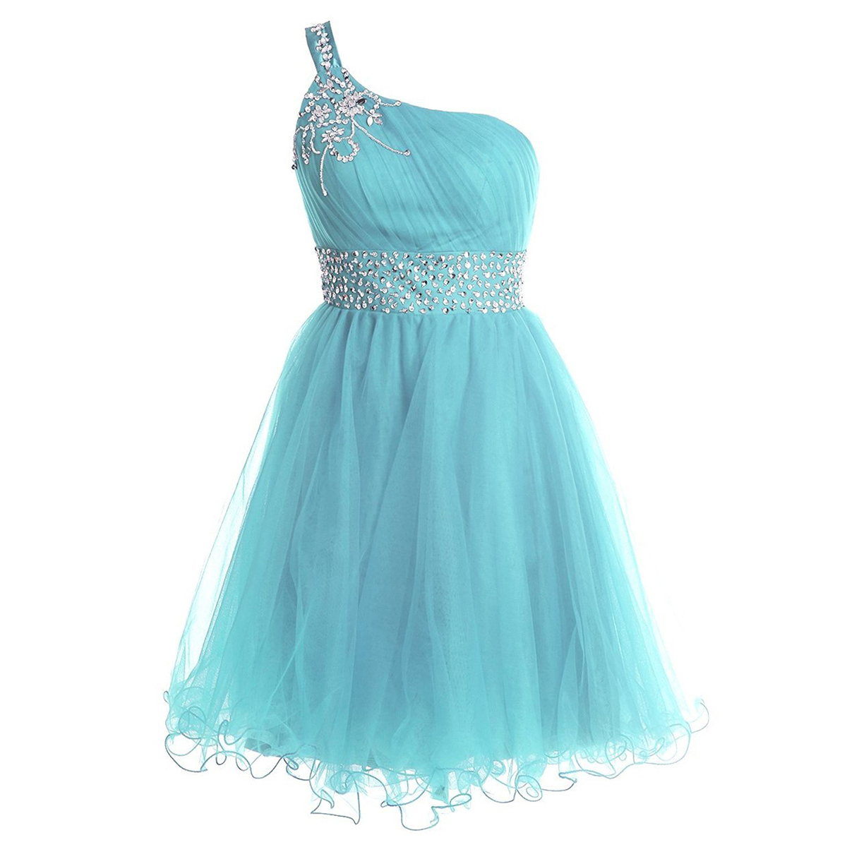 Trendy One Shoulder Short Prom Dress, Sequins Belt Lace-up Light ...