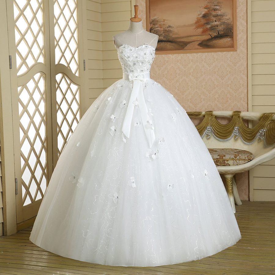Pure White Beaded Flowers Wedding Dress, Exquisite Floral Sash Ball ...