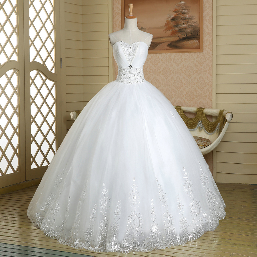 Sweetheart Floral Crystal Beaded Wedding Dress, Attractive Pure ...
